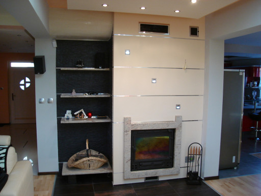 FIREPLACE made of ivory white granite