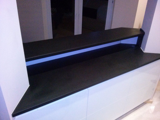 KITCHEN made of brushed absolute black granite