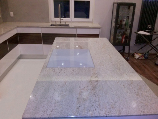 KITCHEN made of polished ivory white granite