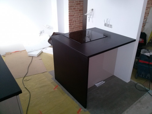 KITCHEN made of brushed absolute black granite - 3 cm thick