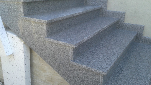 STAIRCASE made of flamed grey granite