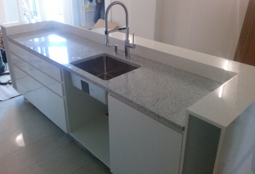 KITCHEN made of polished imperial white granite