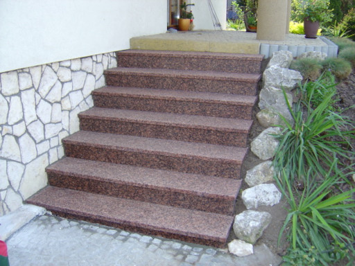 STAIRCASE made of flamed eagle red granite