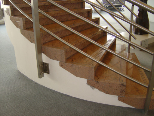 STAIRCASE made of multicolour red granite