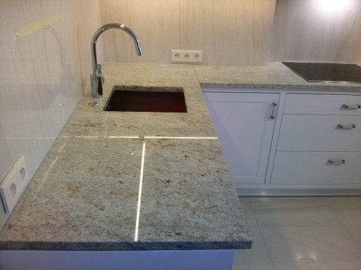 KITCHEN made of polished ivory white granite - 3 cm thick