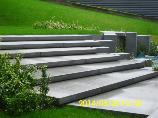 STAIRCASE made of brushed impala granite - 10 cm thick