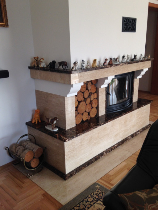 FIREPLACE made of breccia and emperador marble