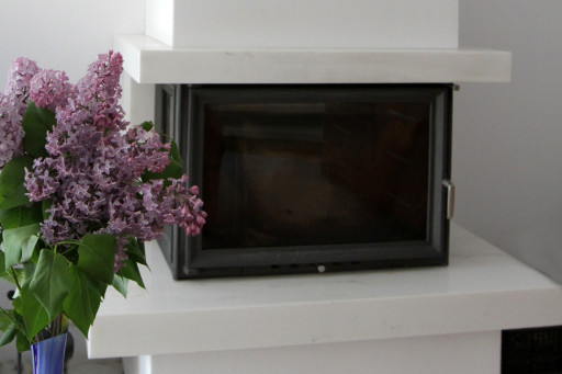 FIREPLACE made of bianco cristal marble