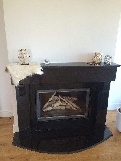 FIREPLACE and MANTELPIECE made of absolute black granite