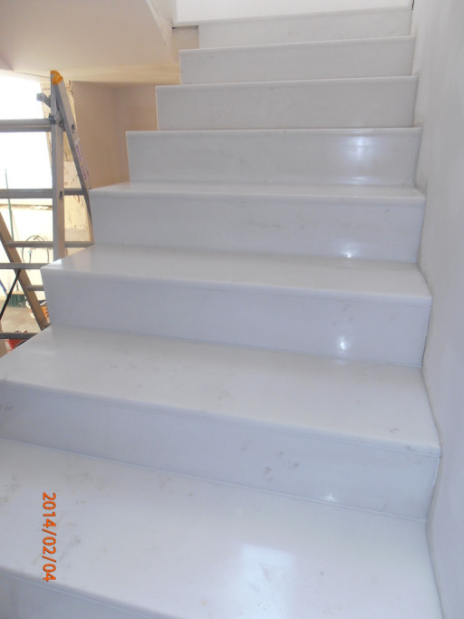 STAIRCASE made of polished bianco crystal marble
