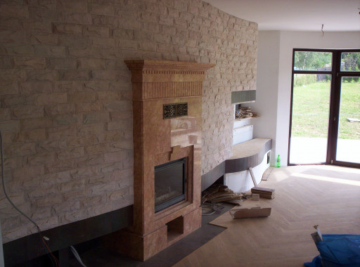 FIREPLACE and MANTELPIECE made of crema valencia marble