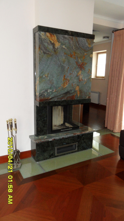 FIREPLACE made of granite and luise blue granite