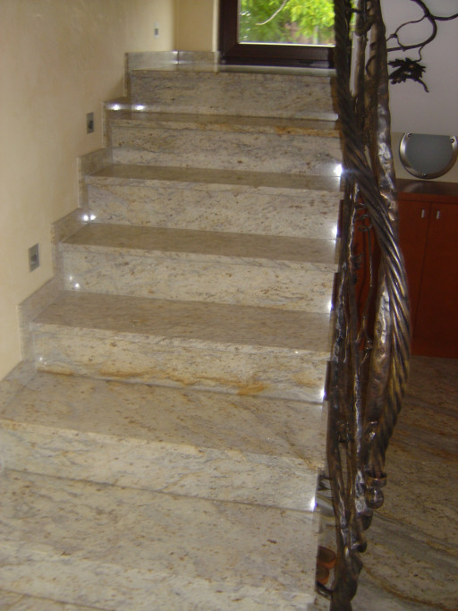 STAIRCASE made of colonial white granite